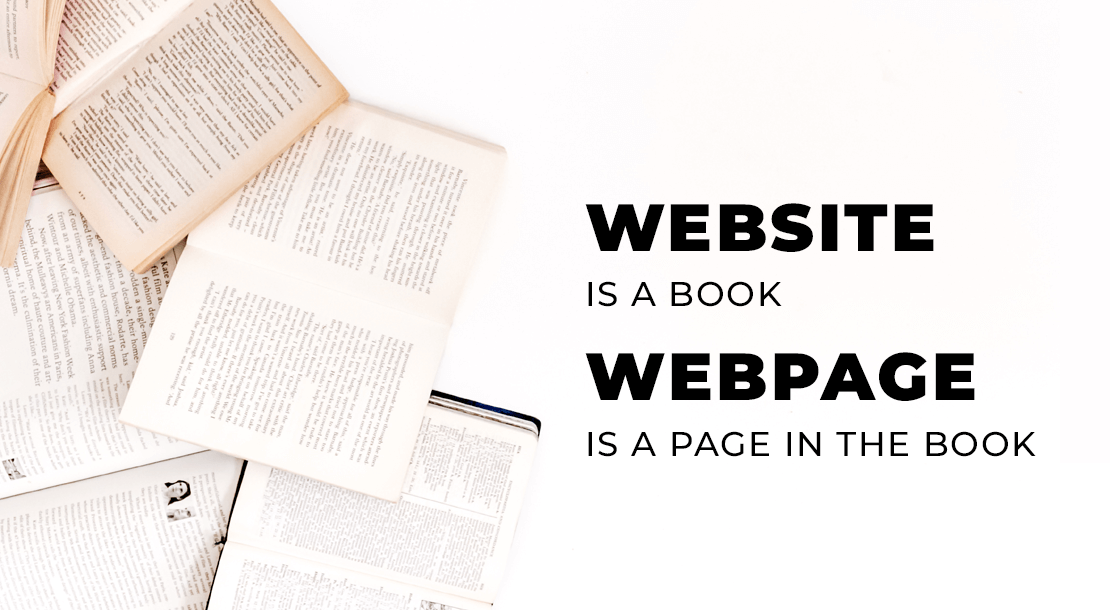 Website is a book. Webpage is a page in the book
